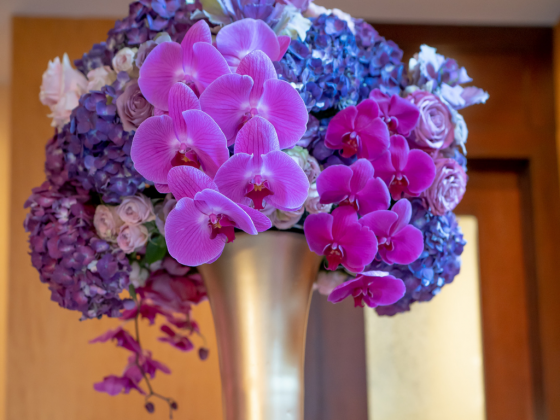 Lush Orchid tall centerpiece